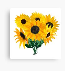 Painted sunflower bouquet Canvas Print
