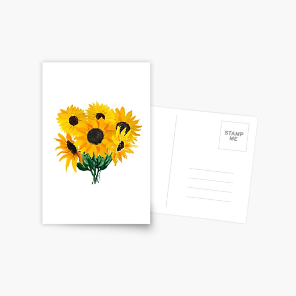 Painted sunflower bouquet Postcard