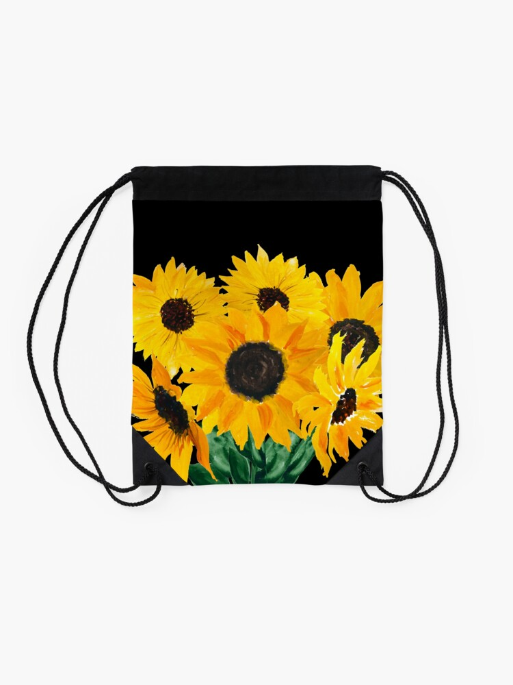 Alternate view of Painted sunflower bouquet Drawstring Bag