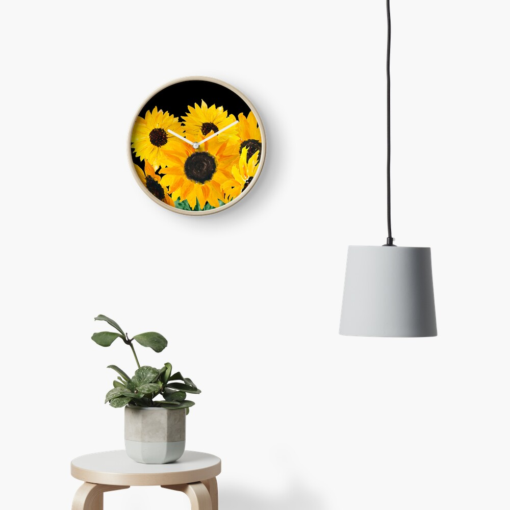 Gemalter Sonnenblumenstrauß Uhr