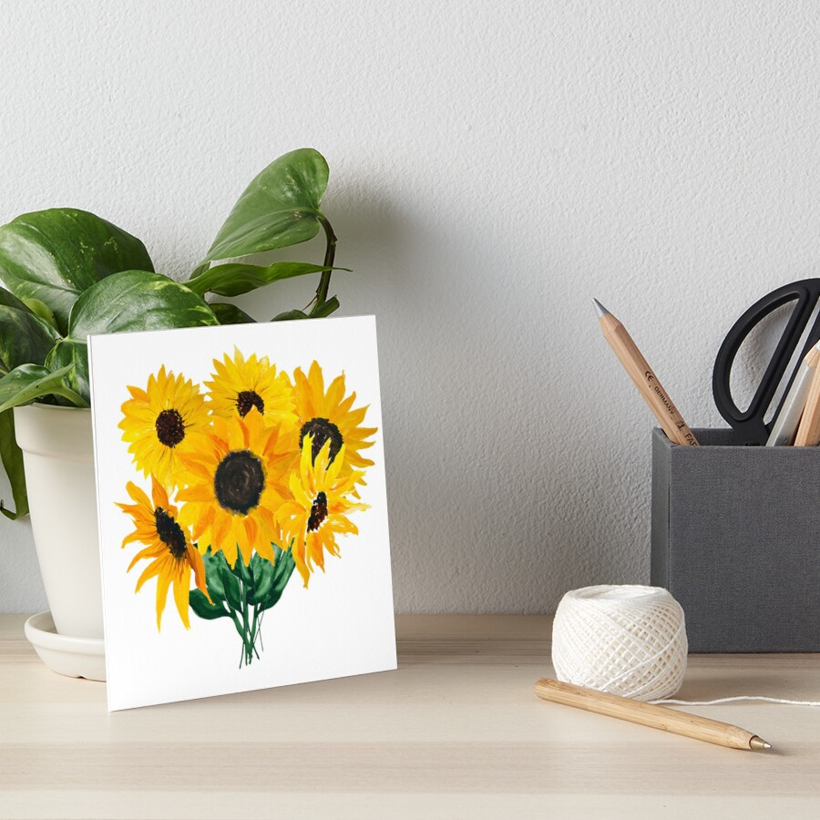 Painted sunflower bouquet by Ilze Lucero