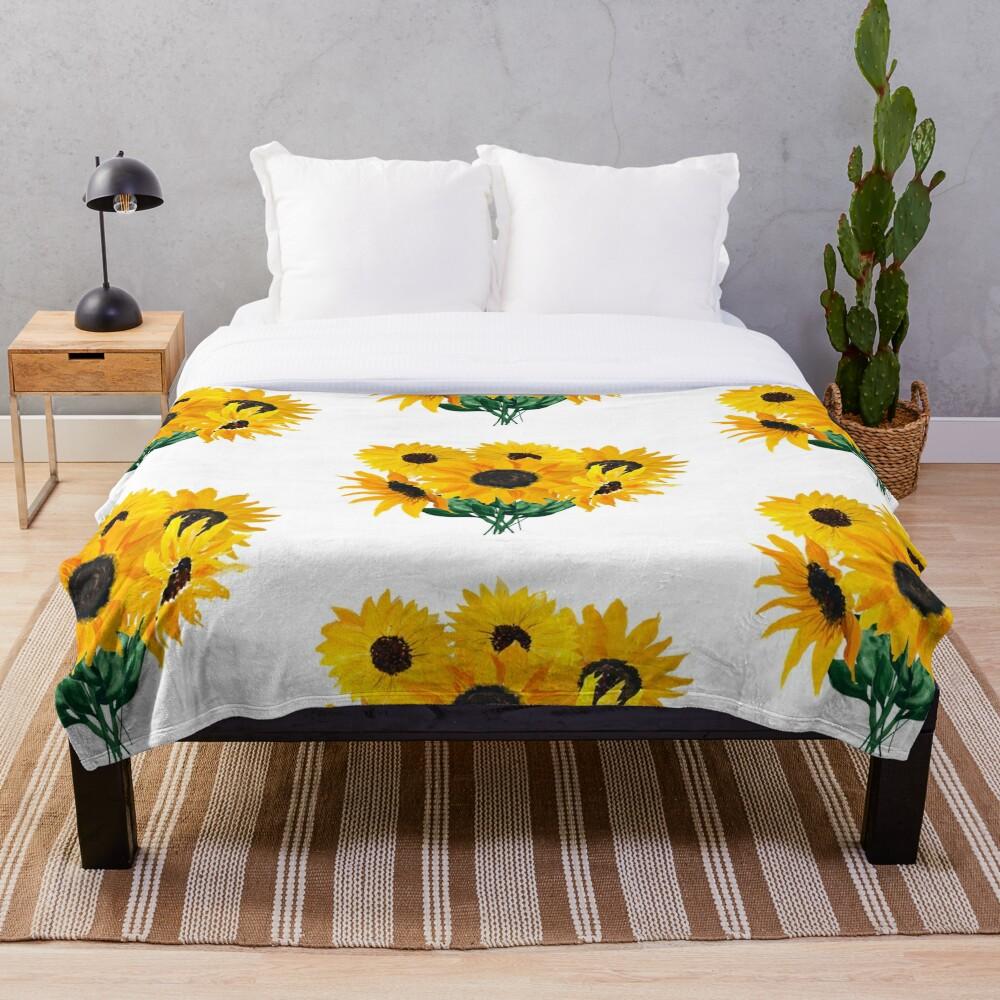 Painted sunflower bouquet Throw Blanket