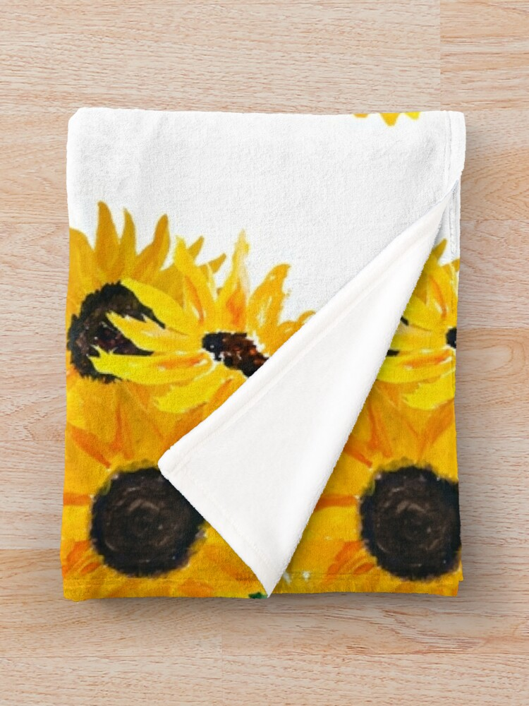Alternate view of Painted sunflower bouquet Throw Blanket