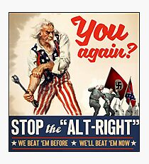 Stop the Alt Right - Antifa Photographic Print