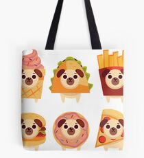 cute pug, funny pug, icecream pug, taco pug, french fries pug, hamburger pug, donut pug, pizza pug, fast food dog, fast food pug, cute pug mascot Tote Bag