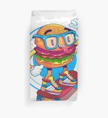 Hamburger skateboard, funny hamburger, cute hamburger, skateboard hamburger, hamburger, skateboard Duvet Cover