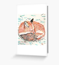 Sleeping Fox in the Snow Greeting Card