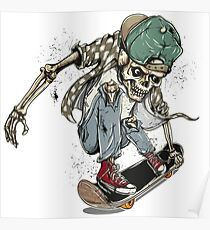 skeleton, funny skeleton, halloween skeleton, skeleton skateboard, funny skeleton skateboard, halloween skateboard Poster