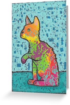 Rainbow Cat Lifts a Paw by peaceofpistudio