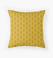 Mustard Yellow Geometric Squares Throw Pillow