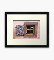 Tiny Window with Heart Decoration Framed Print