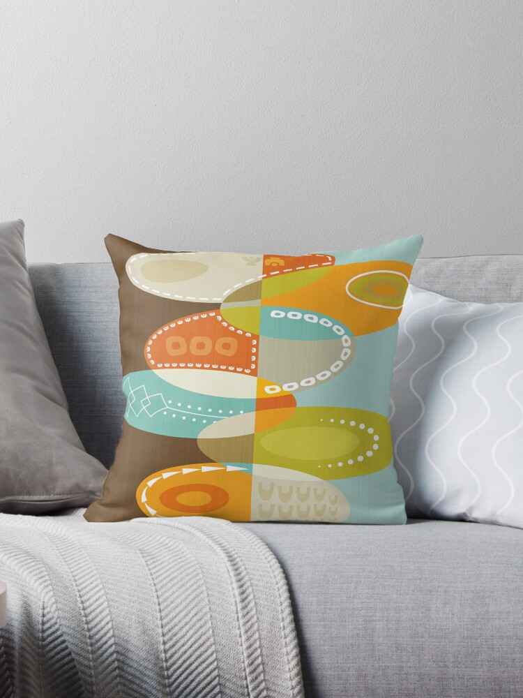 Superb Colorful Atomic Art Abstract Mid Century Modern Oval Print Brown Blue Orange Throw Pillow By Elsys Art Pabps2019 Chair Design Images Pabps2019Com