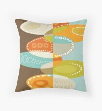Colorful Atomic Art - Abstract Mid Century Modern Oval Print - Brown Blue Orange Throw Pillow