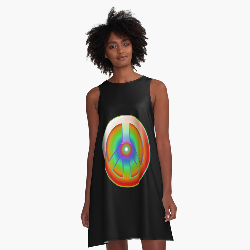 PEACE SIGN  A-Line Dress Front