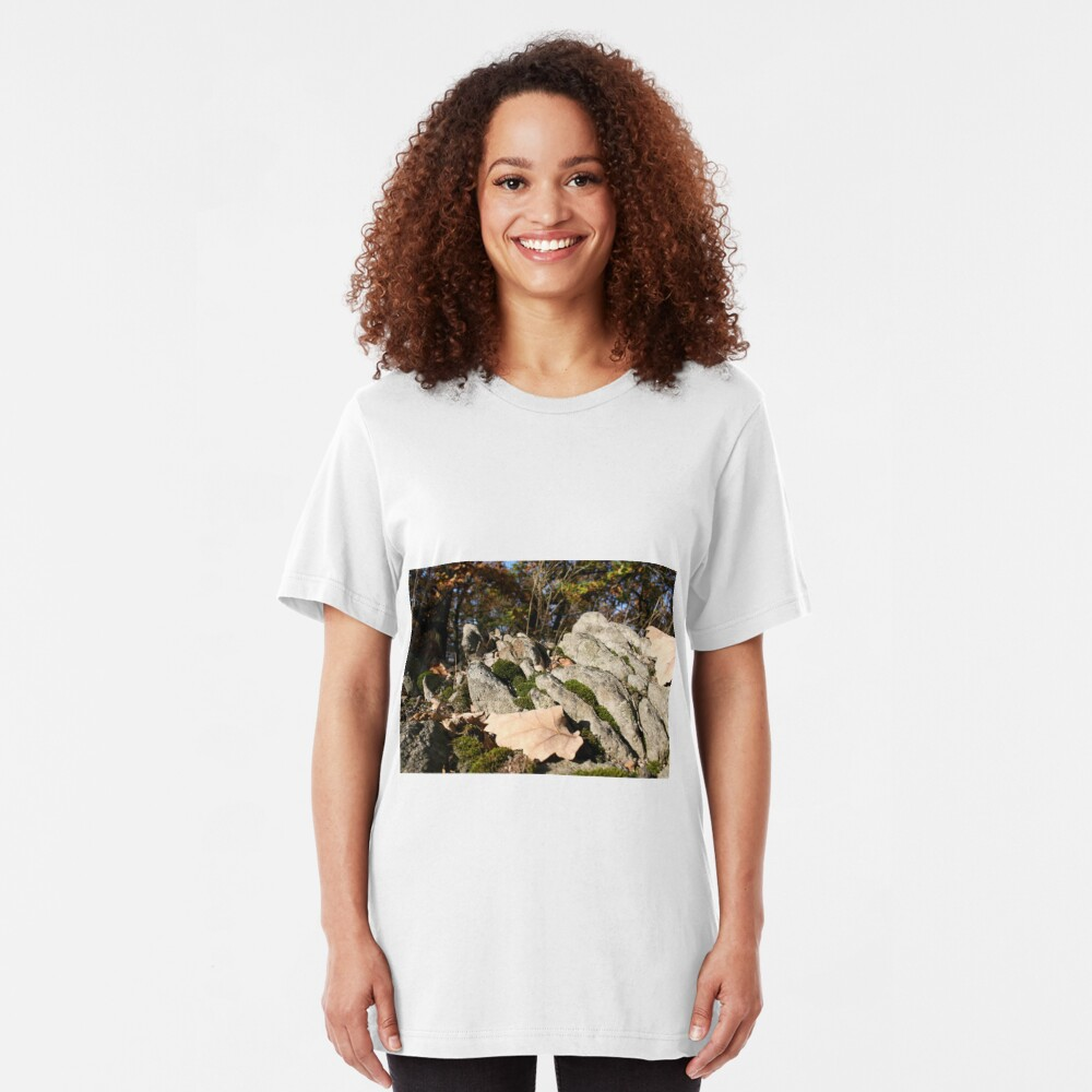 Hilltop rock formation with moss Slim Fit T-Shirt