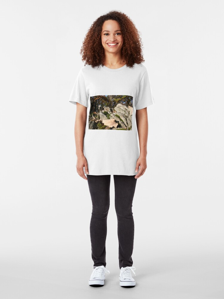 Alternate view of Hilltop rock formation with moss Slim Fit T-Shirt