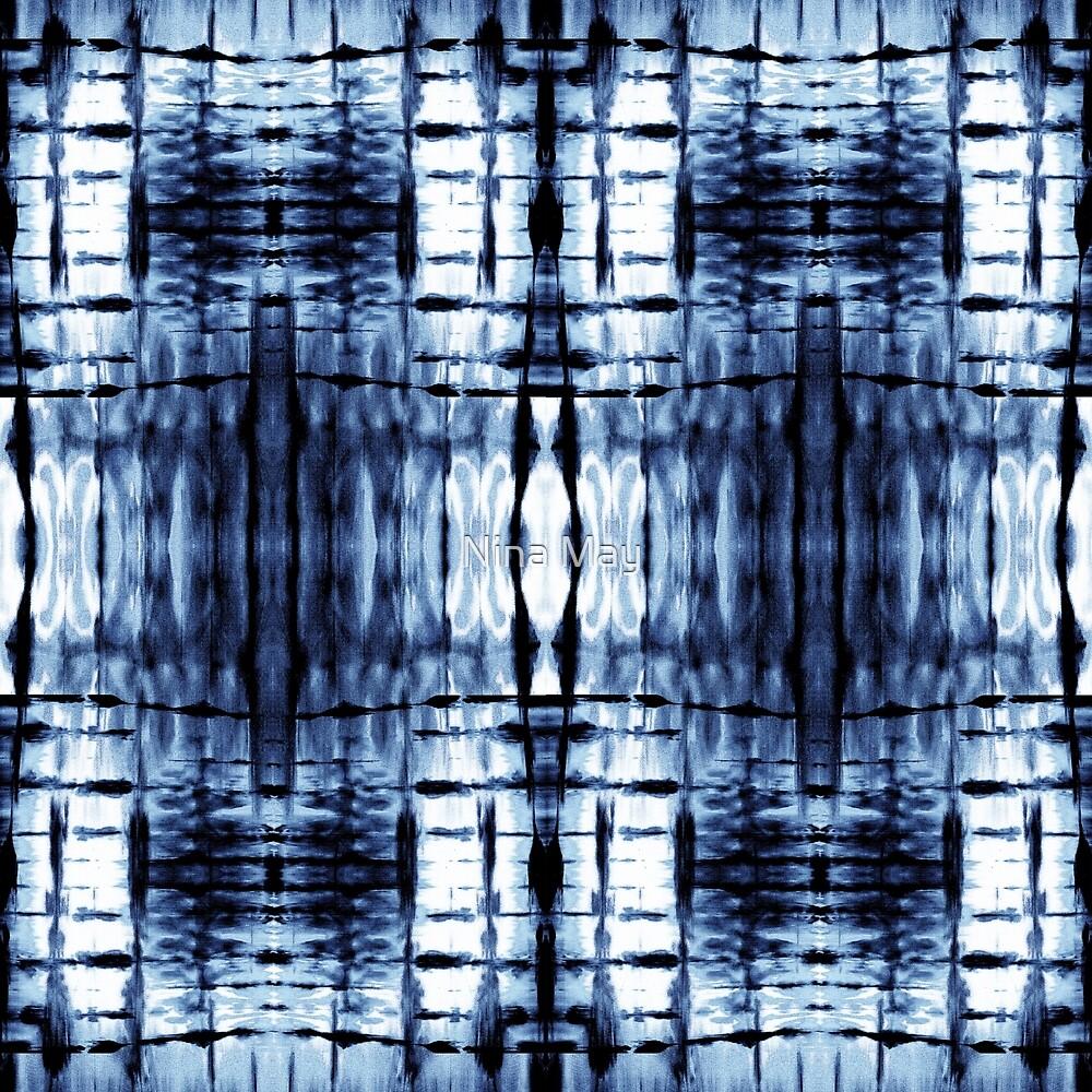 Blue Shibori Plaid by Nina May