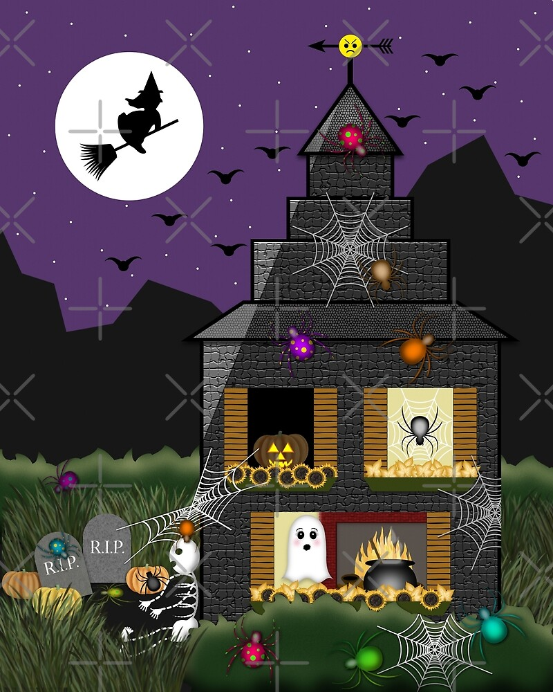 spooky halloween haunted house cartoon with witch spiders skeleton bats ghost by