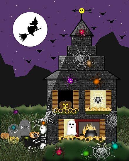 Spooky halloween haunted house cartoon with witch - Cartoon haunted house pics ...
