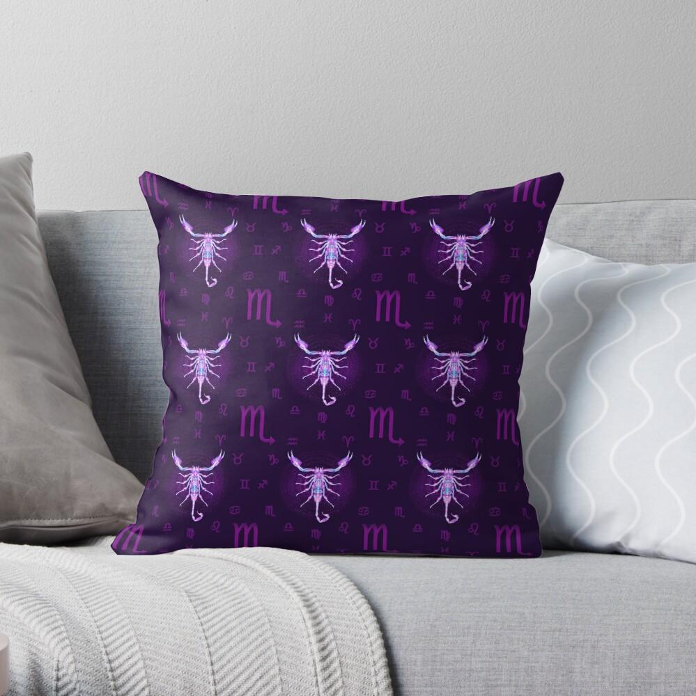 Scorpio Zodiac Lightburst - Tiled Throw Pillow