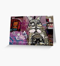 Cat and Bird Graffiti, Melbourne CBD Greeting Card