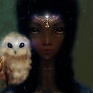 Black Fairy Witch Owl Illustration by Monica Michelle