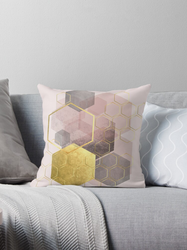 Geometric Abstract in blush pink and gold by UrbanEpiphany
