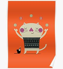 Cute Cat Juggling Poster