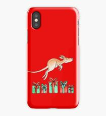 Whimsy kangaroo jumping over Christmas gifts iPhone Case/Skin
