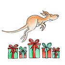 Whimsy kangaroo jumping over Christmas gifts by Sarah Trett