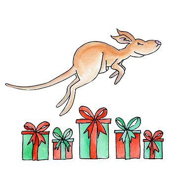 Whimsy kangaroo jumping over Christmas gifts by sarahtrett