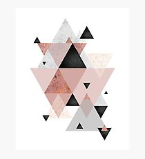 Geometric Compilation in Rose Gold and Blush Pink Photographic Print