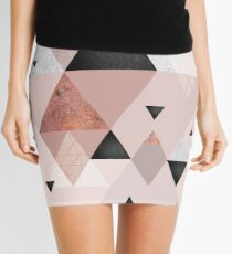 Geometric Compilation in Rose Gold and Blush Pink Mini Skirt