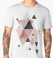 Geometric Compilation in Rose Gold and Blush Pink Men's Premium T-Shirt