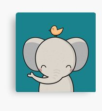 Kawaii Cute Elephant  Canvas Print