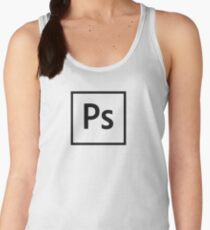 Adobe Photoshop Logo - Black Outline (Transparent) Women's Tank Top
