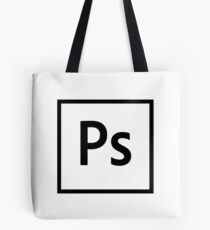Adobe Photoshop Logo - Black Outline (Transparent) Tote Bag
