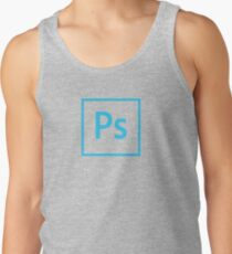 Photoshop Logo - Blue Outline (Transparent) Tank Top