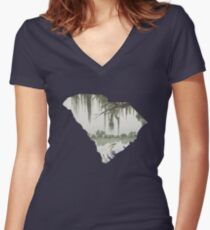 South Carolina Cutout:  Magnolia Plantation Women's Fitted V-Neck T-Shirt