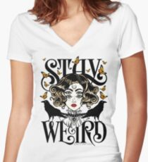 Rose and The Ravens {Stay Weird} Colour Version Women's Fitted V-Neck T-Shirt