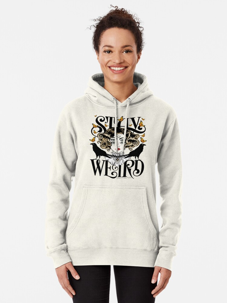 Alternate view of Rose and The Ravens {Stay Weird} Colour Version Pullover Hoodie