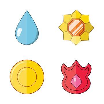 Kanto Badges (Sticker Set) by DiseasedBones