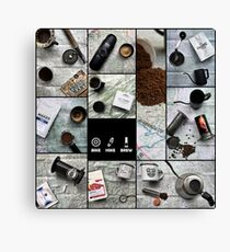Coffee and Maps Series: Complete Collage Canvas Print