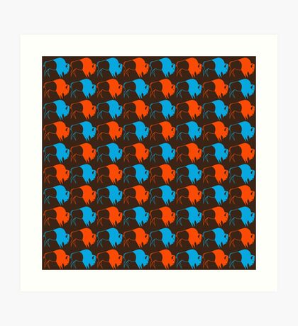 Orange Blue Buffalo Nation Art Print