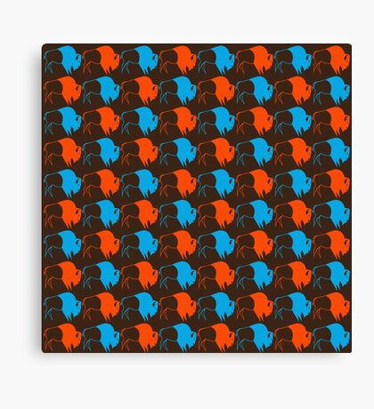 Orange Blue Buffalo Nation Canvas Print