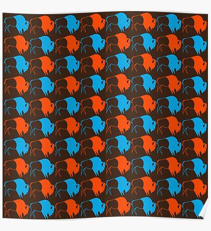 Orange Blue Buffalo Nation Poster