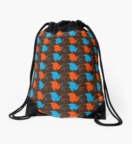 Orange Blue Buffalo Nation Drawstring Bag