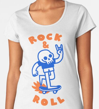 ROCK & ROLL SKULL Premium Scoop T-Shirt