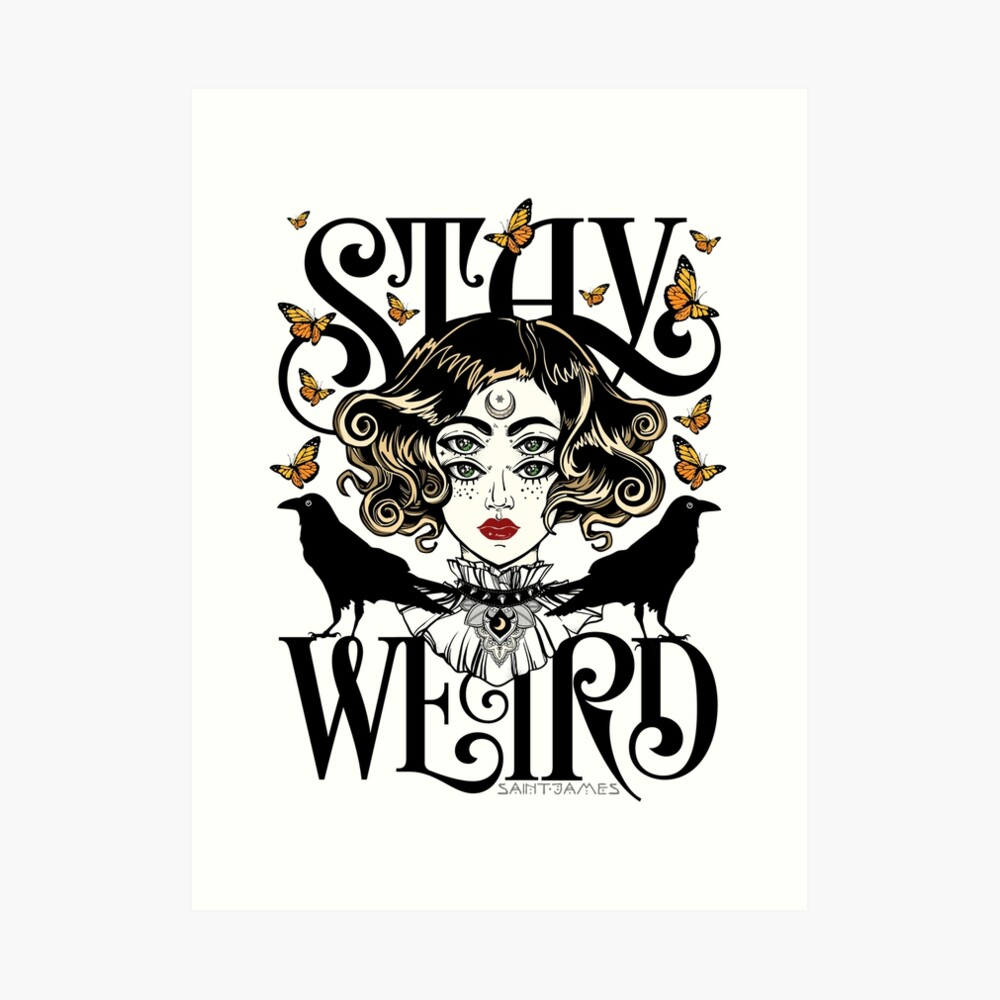 Rose and The Ravens {Stay Weird} Colour Version Art Print