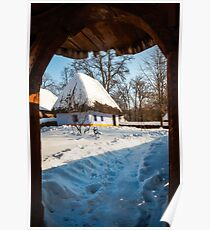 Fairytale cottage in winter at the Village Museum in Bucharest Poster